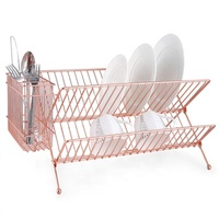 copper rose gold plated foldable dish drying rack XY-A1308-1