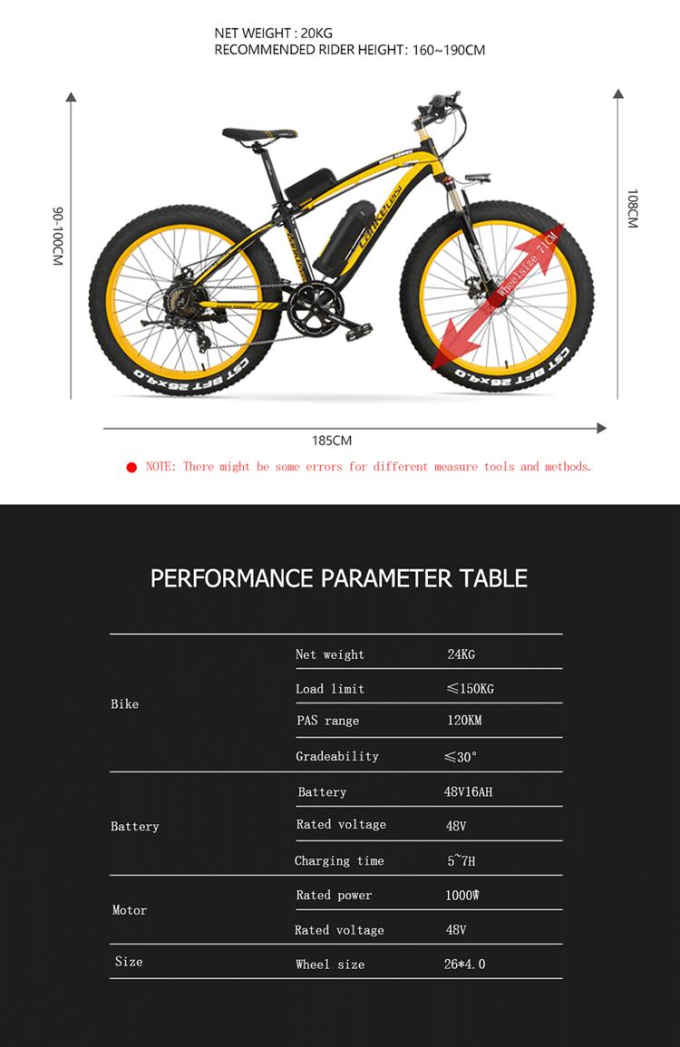 48V 1000W ขนาดใหญ่ไขมันยางไฟฟ้าจักรยาน/หิมะ Ebike พร้อม16AH Panasoni'c แบตเตอรี่