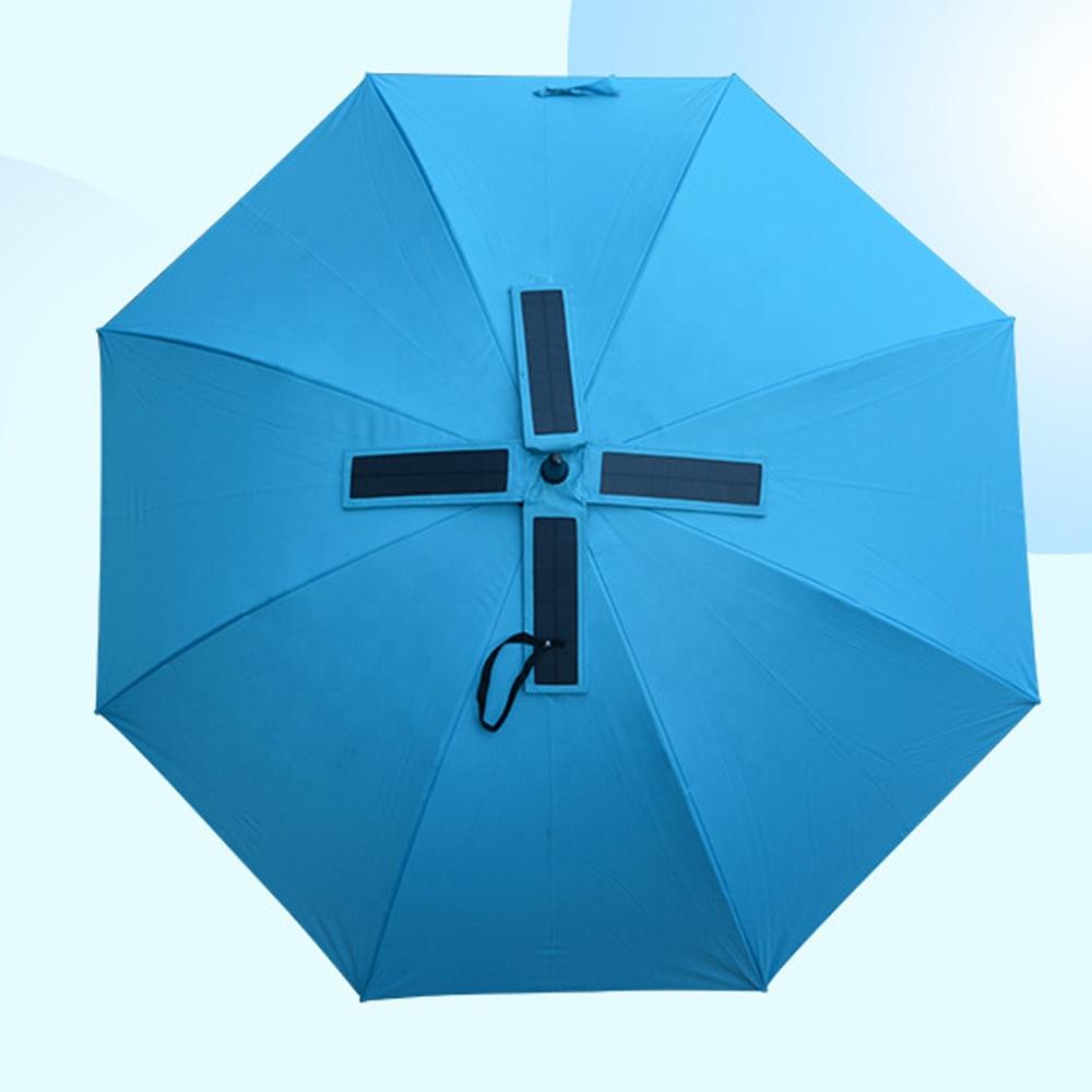 Nieuwe Uv Protect Kan Opladen Mobiele Telefoon Zonnepaneel Oplader Fan Paraplu Met Usb