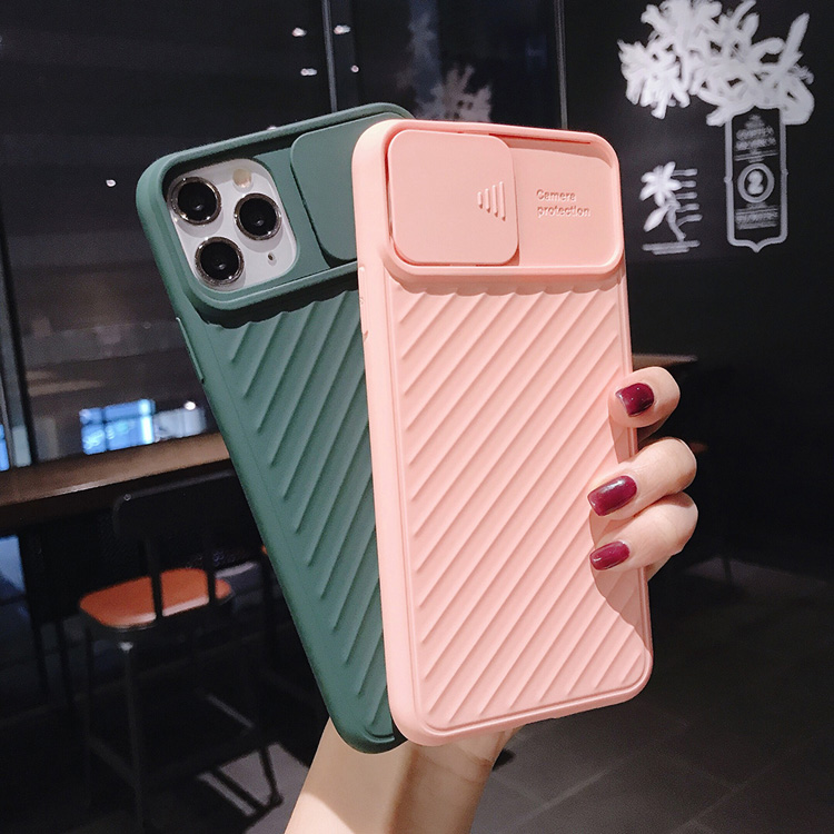 Slide camera lens protector phone case for iphone 11 pro max etui cases bags telephone portable soft matte silicone full cover