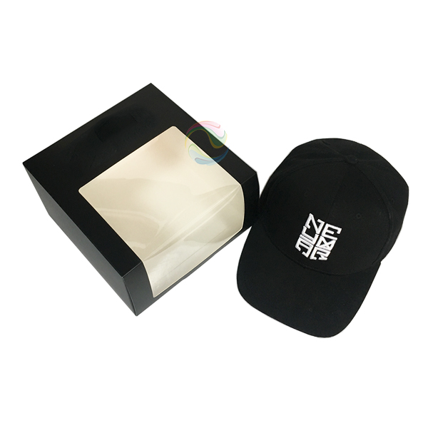 Wholesale Shipping Custom Folding Paper Baseball Cap Gift Box with Window