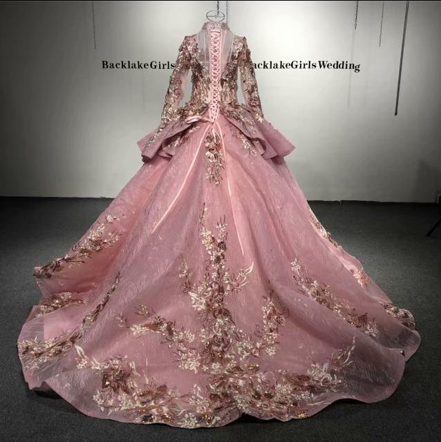 Backlakegirls 4780 Elegant Sequins Robe Ball Gown Wedding Gowns Dress New Arabic Luxurious Pink Wedding Dress Buy Wedding Dressesgold Wedding