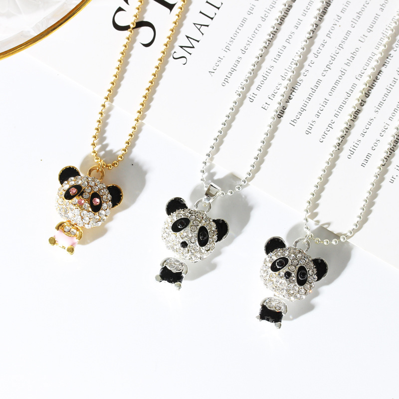 Fashion Bling Full <strong>Crystal</strong> Rhinestone Animal Sweater Chain Cute <strong>Clear</strong> Rhinestone Panda Pendant Necklace