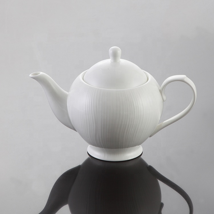 bone china factory Modern design handle ceramic dinnerware coffee pot white color porcelain teapot set