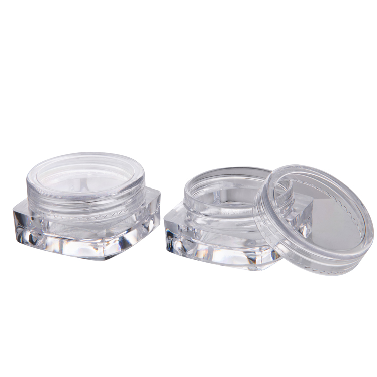 3g Square plastic jar with round screw lid for nail powder plastic glitter container