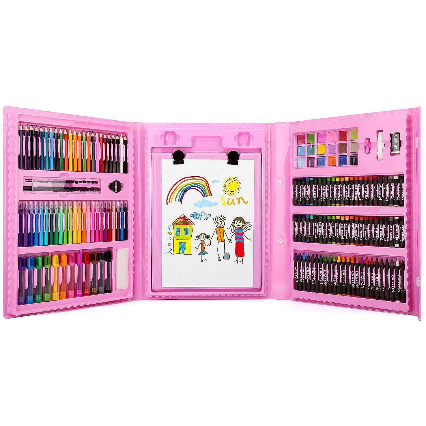 176 Piece High Quality Non-toxic PVC Stationery Kids Drawing Art Set for kids super Artist Tool Kit Gift