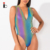 Custom Women Rainbow Workout Reflective Bodysuit