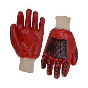 PRI Wholesales Red pvc full coated safety gloves protective pvc hand gloves Knitted wrist TPR Impact resistant gloves