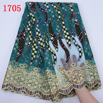 Wholesale Ankara Hollandais Wax Lace With Water Solution New Arrival Nigerian Printed Wax Lace Fabric With Stones Dresses   1705