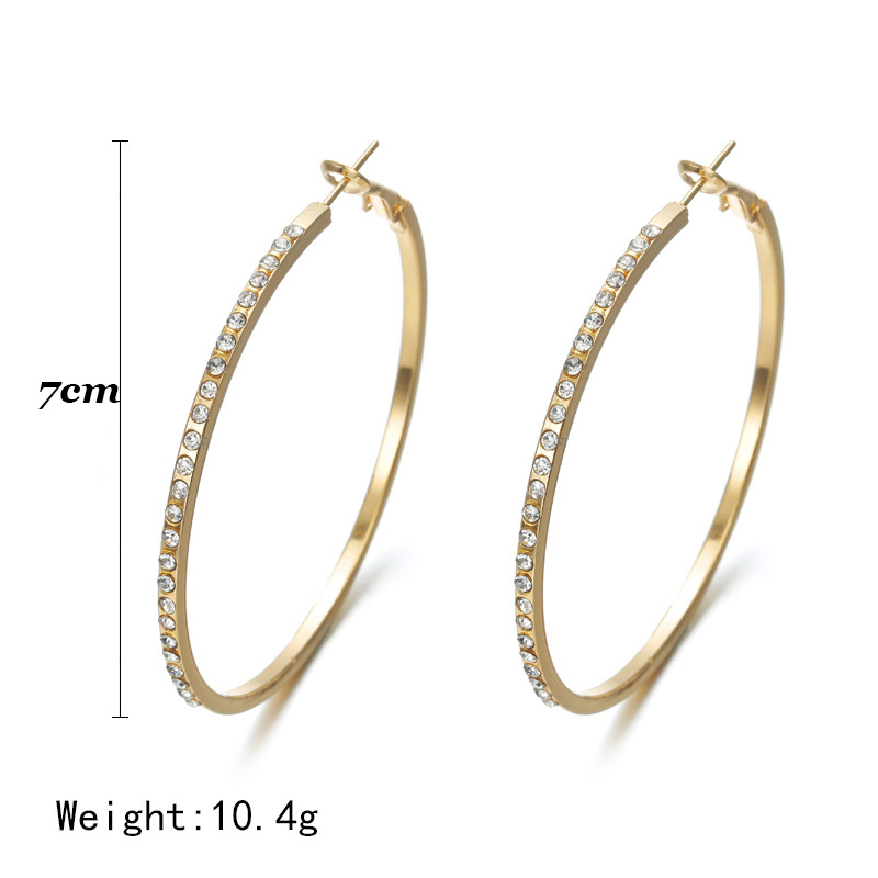7cm Personality Super Crystal Big Circles Hoop Earrings For Women Fashion Gold Silver Color Jewelry Big Round Circle Ear N207243