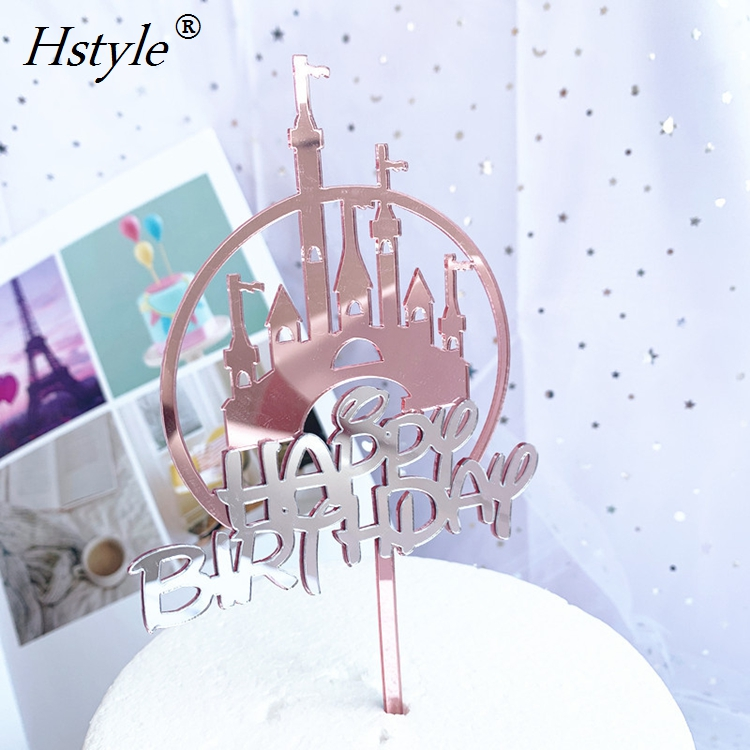 Double Castle Cake Decoration Happy Birthday Acrylic Cupcake Cake Topper for Princess Prince Kids Baby Shower PQ257