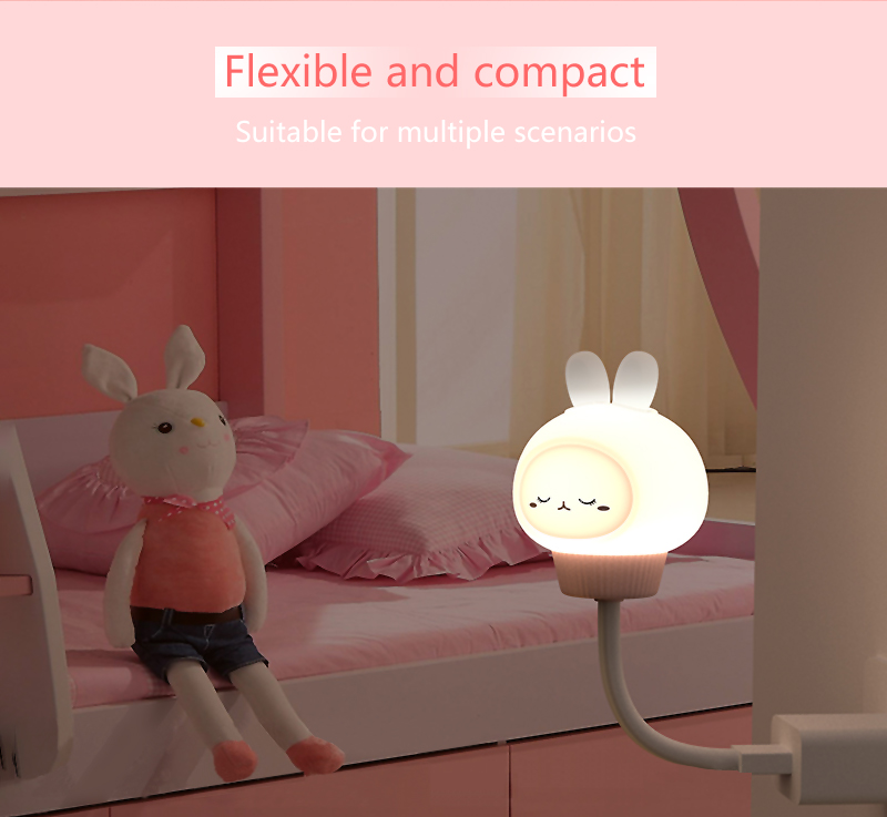 Bendable Night Lights for Kids with Stable Charging Pad, ABS Bedside Lamp for Breastfeeding, Touch Control&Timer Setting,RK-C28