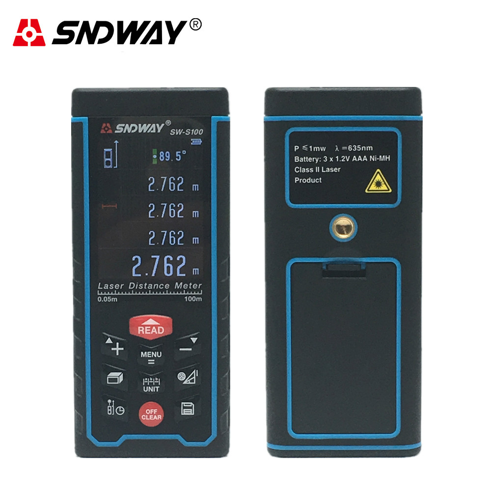 SNDWAY SW-S100 Digital Laser rangefinder Color display Rechargeable 100m Laser Range Finder distance meter