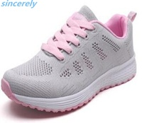 OEM dropship jinjiang shoes breathable light lace up sport couple running knitted students sneakers women shoes