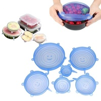 Amazon Hot Selling Set of Different Size 6 Packs Food Saver Covers Silicone Stretch Lids