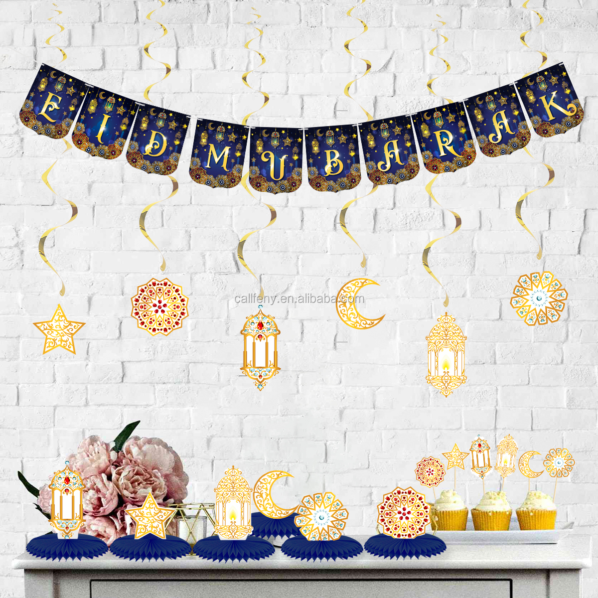 new products 2020 blue eid mubarak banners and paper fans