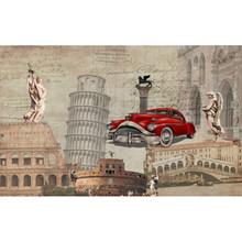 Столярные пользовательские 3D Настенные обои чернила в европейском стиле ностальгические ретро тащенные Авто классические обои для гостин...(Китай)