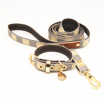 Lovely and cute fashion leather dog collar Pet leash and collar set