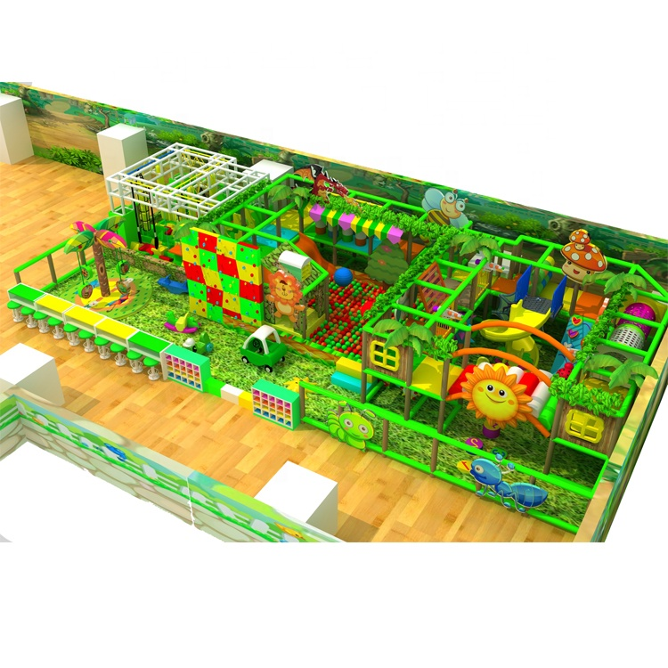 Great Indoor or Outdoor Playground 185 Square Meter Forest Themed Soft Play Equipments With Ninja Course