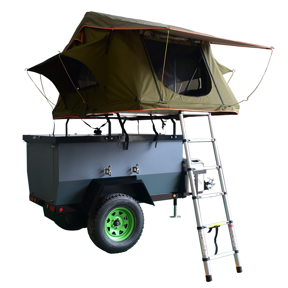 Ecocampor 4 Person Mini Pop Up atv Tow Behind Camper Trailer With Folding  Tents