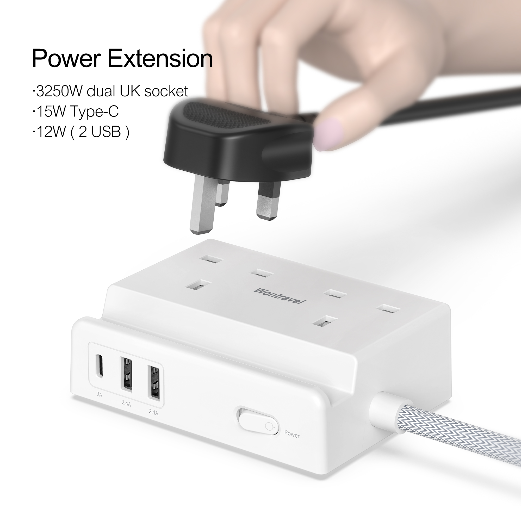 UK Power Strip Extension Surge Protector AC Output Cables Socket With USB Ports Plug