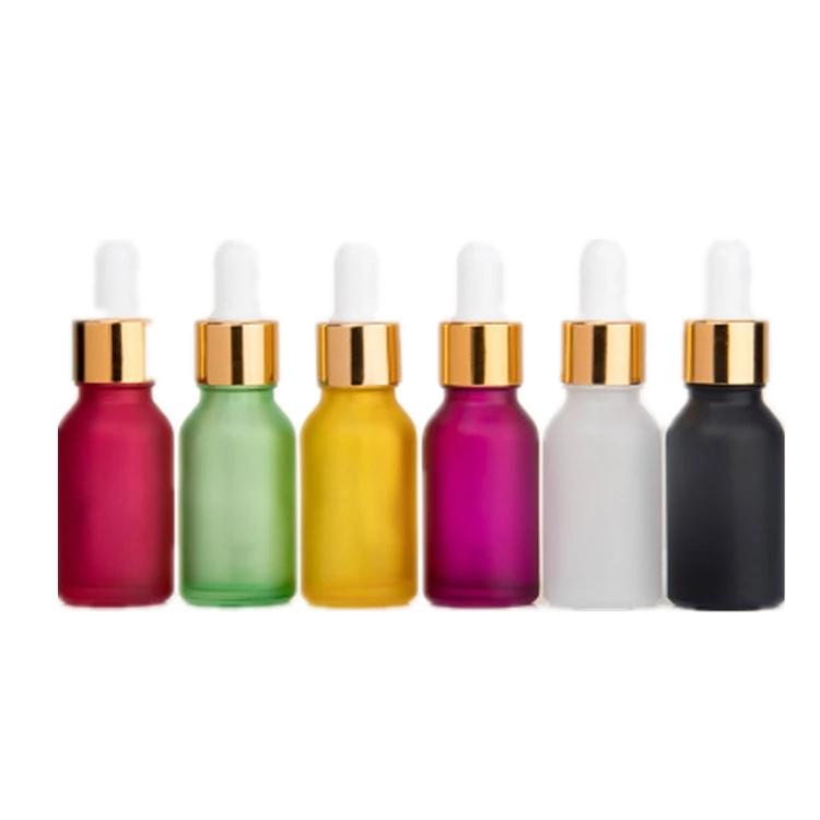 Venta al por mayor 5ml 10ml 15ml 20ml 25ml 30ml 50ml 100ml de vidrio ámbar vacío cuentagotas botella para aceite esencial