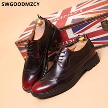Мужская классическая обувь с перфорацией типа «броги»; Мужская вечерняя обувь; Coiffeur; Итальянская официальная обувь Bramd; Мужская офисная Сва...(Китай)