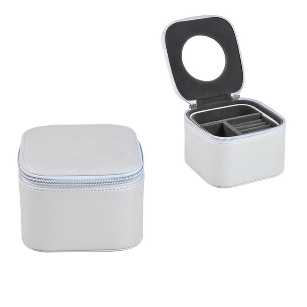 Personalized luxury mirror jewelry gift box organizer travel case and custom logo