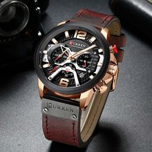 Curren Мужские часы Топ бренд класса люкс хронограф мужские часы Кожа Роскошные водонепроницаемые спортивные часы Мужские наручные часы(Китай)