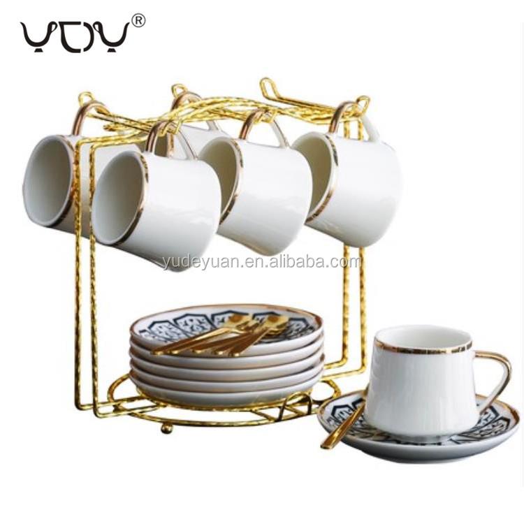 90cc Wholesale Personalized Fine Bone China Gold Rim Ceramic Espresso Custom Turkish Coffee Cup Saucer Set