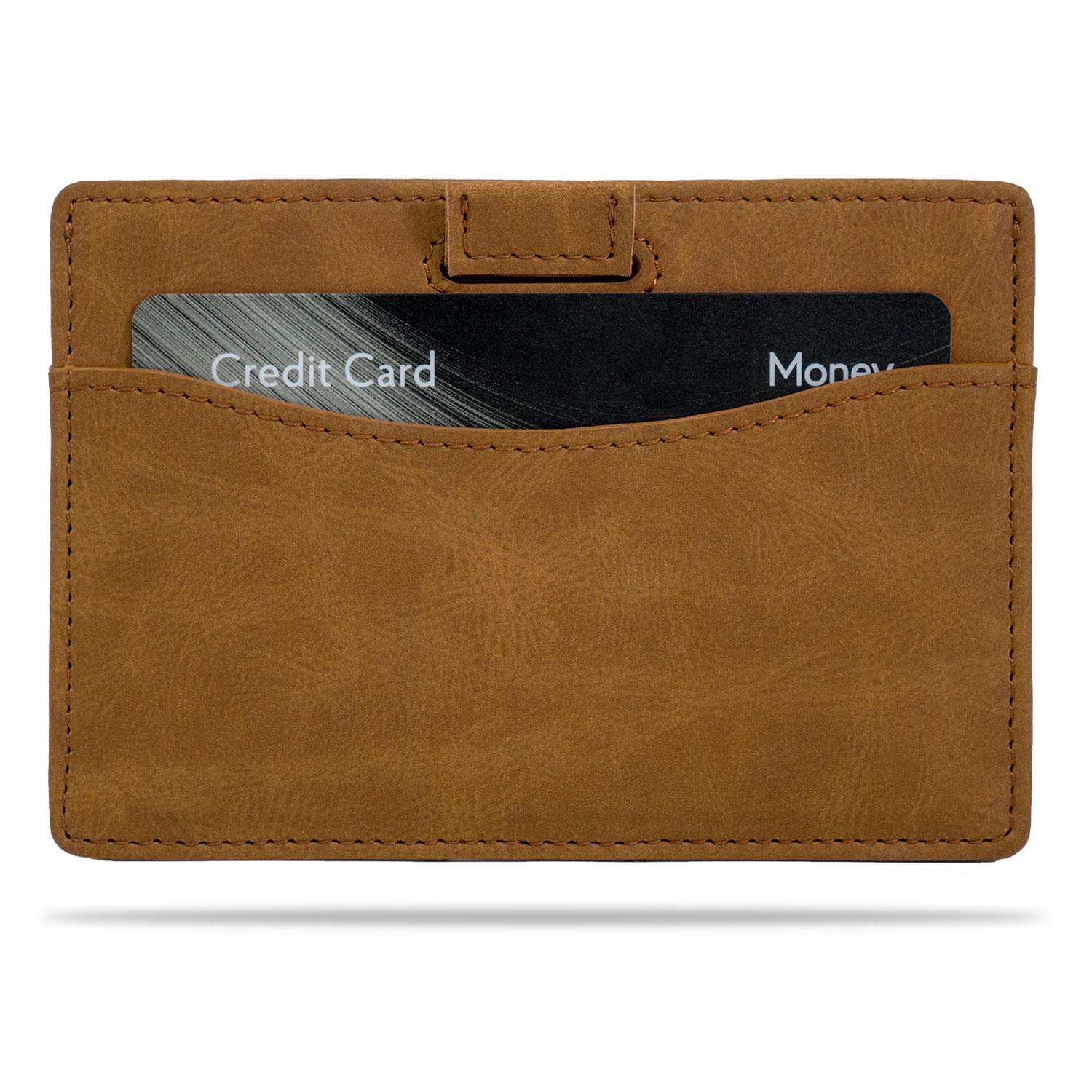 Compact and slim RFID blocking leather credit card holder mens card holder with pull-tab