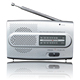 Simple Design Custom LOGO Silver Portable AM FM Radio with Battery