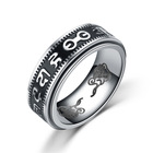 Mens Healing Buddhist Rings Stainless Steel Buddhist Mantra Pattern Lucky Spinner Ring