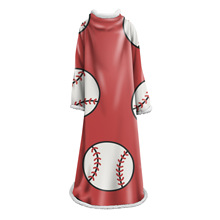 H88 Creatieve Winter Dikke <span class=keywords><strong>Fleece</strong></span> Kleed Sport <span class=keywords><strong>Bal</strong></span> Dekens 3D Digital Printing Baseball Patroon Wearable Mouw Deken