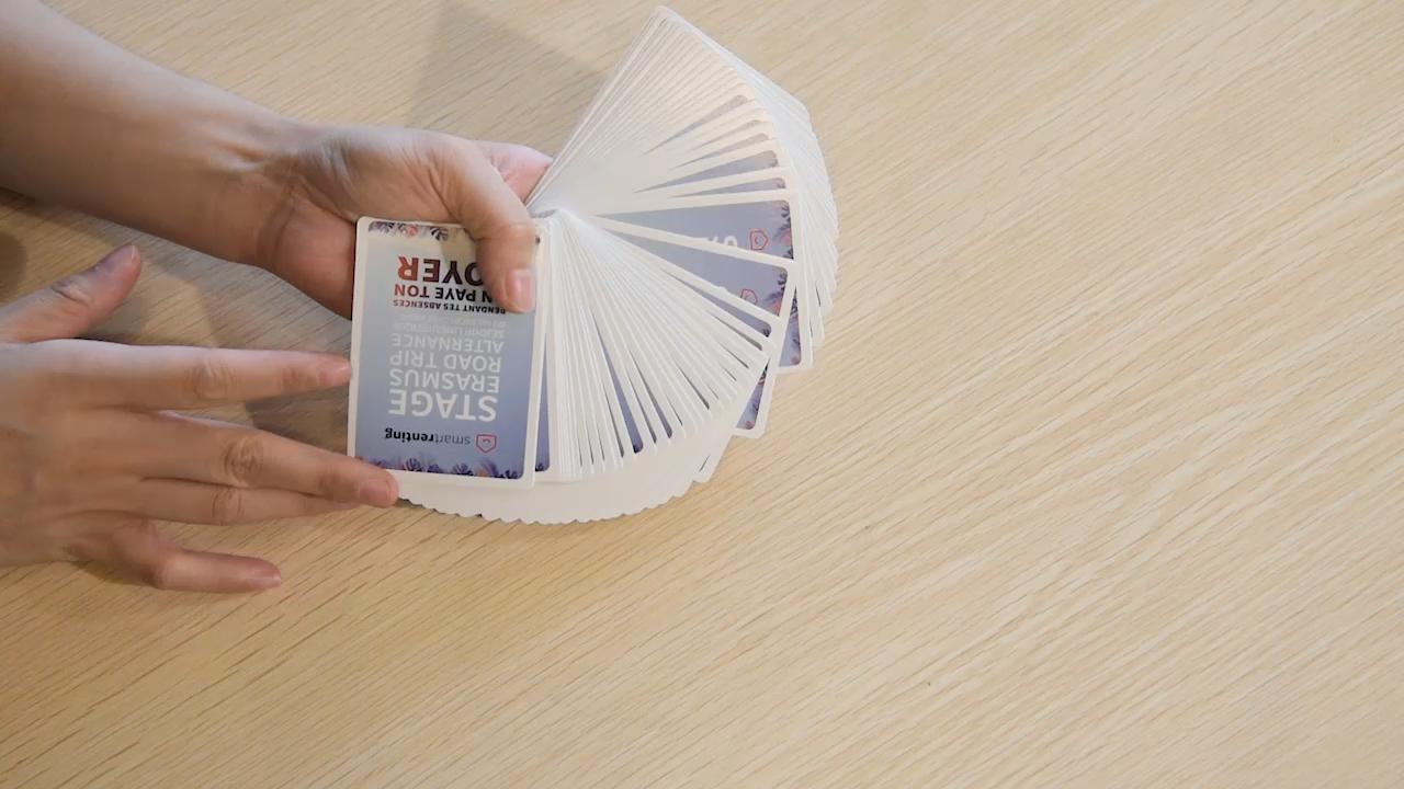 מותאם אישית Pvc 100% פלסטיק קלפים עמיד למים עם גובה איכות
