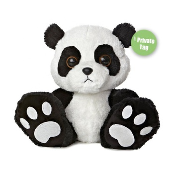 Custom 10 inch giant mascot embroidery paws wedding red black soft animal teddy bear panda plush stuffed toy