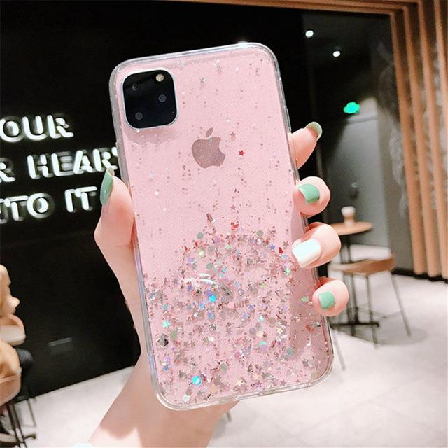 Lovebay Блестящий блестящий чехол с блестками для iphone 11 8 7 Plus 6 6 s, прозрачные мягкие чехлы из ТПУ для iphone 11 Pro X XR XS Max, задняя крышка(Китай)