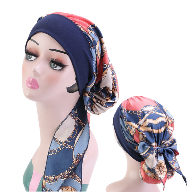 wholesale customize designer bonnets and durags satin hair silk bonnets with logo/cancer hats
