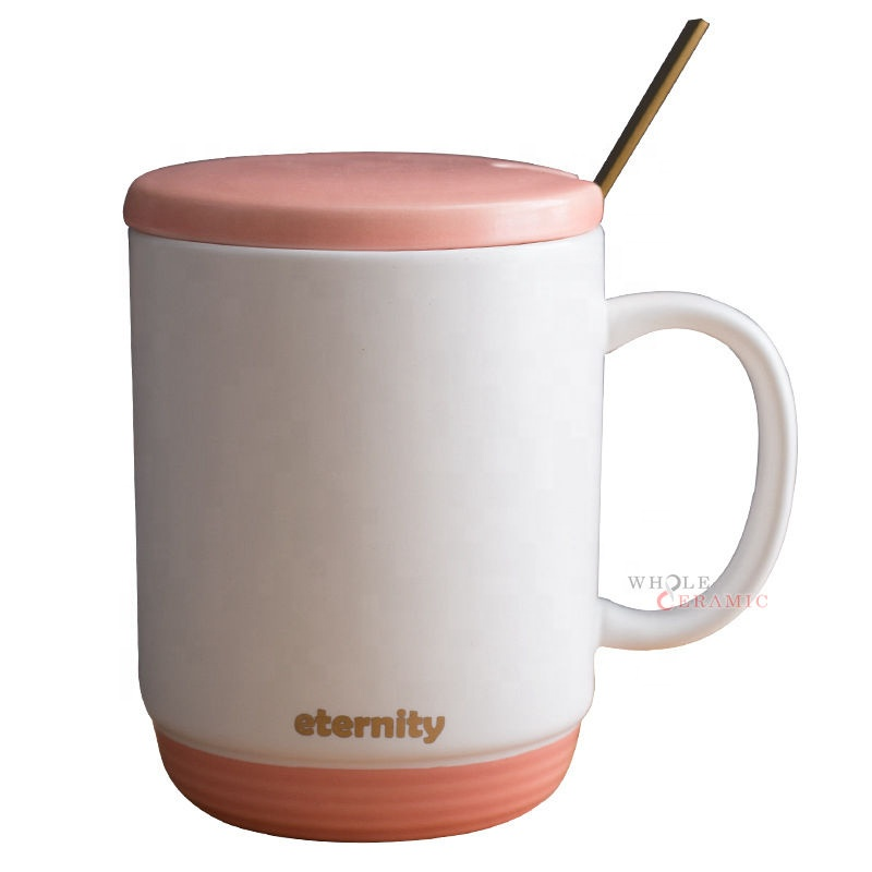 New Hot A Class Qualified Gift Matt Solid Color Double Glaze Ceramic Coffee Mug With Lid And Spoon Tea Cup