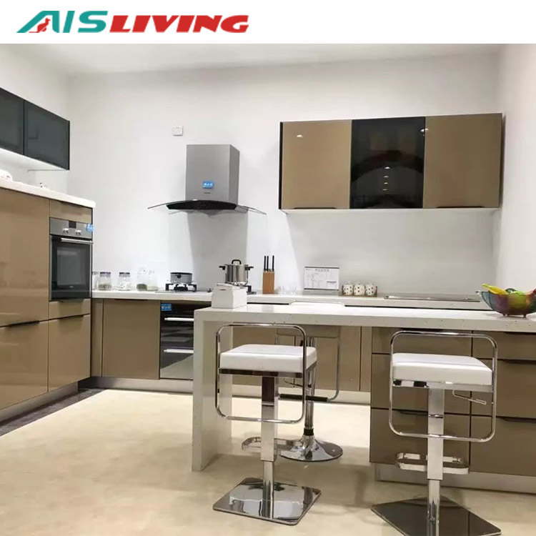 Modern Plywood Design Kitchen Cabinets Veneer Finish ...