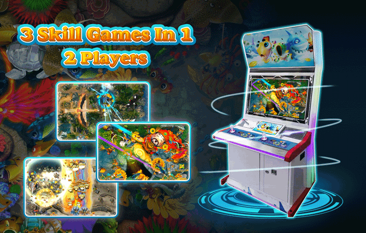 3 In 1 Video Shooting Indoor Multi Arcade Game 2 Players Fish Machine