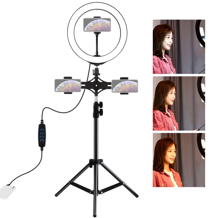 PULUZ Dual Phone Brackets Horizontal Holder+1.1m Tripod Mount+10 inch 26cm LED Ring Vlogging Video Light Live Broadcast Kits