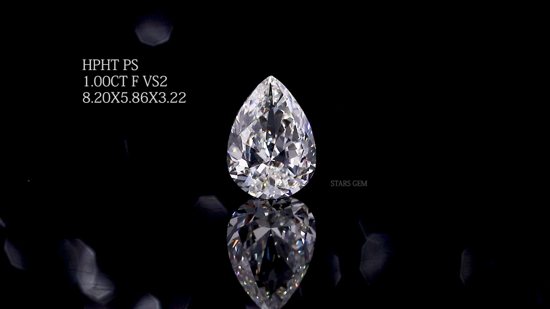 ووتشو Starsgem شحن مجاني 1 قيراط VS2 F مختبر الكمثرى نمت الماس
