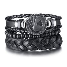Vnox 4 шт./компл. плетеный кожаный браслет для мужчин винтажный Древо-руль Charm деревянные бусы этнические Этнические браслеты(Китай)