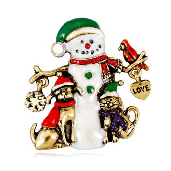 Fashion Cartoon Retro Alloy Diamond Christmas With Cute Cat And Dod Love Charm Snowflake Snowman Brooch
