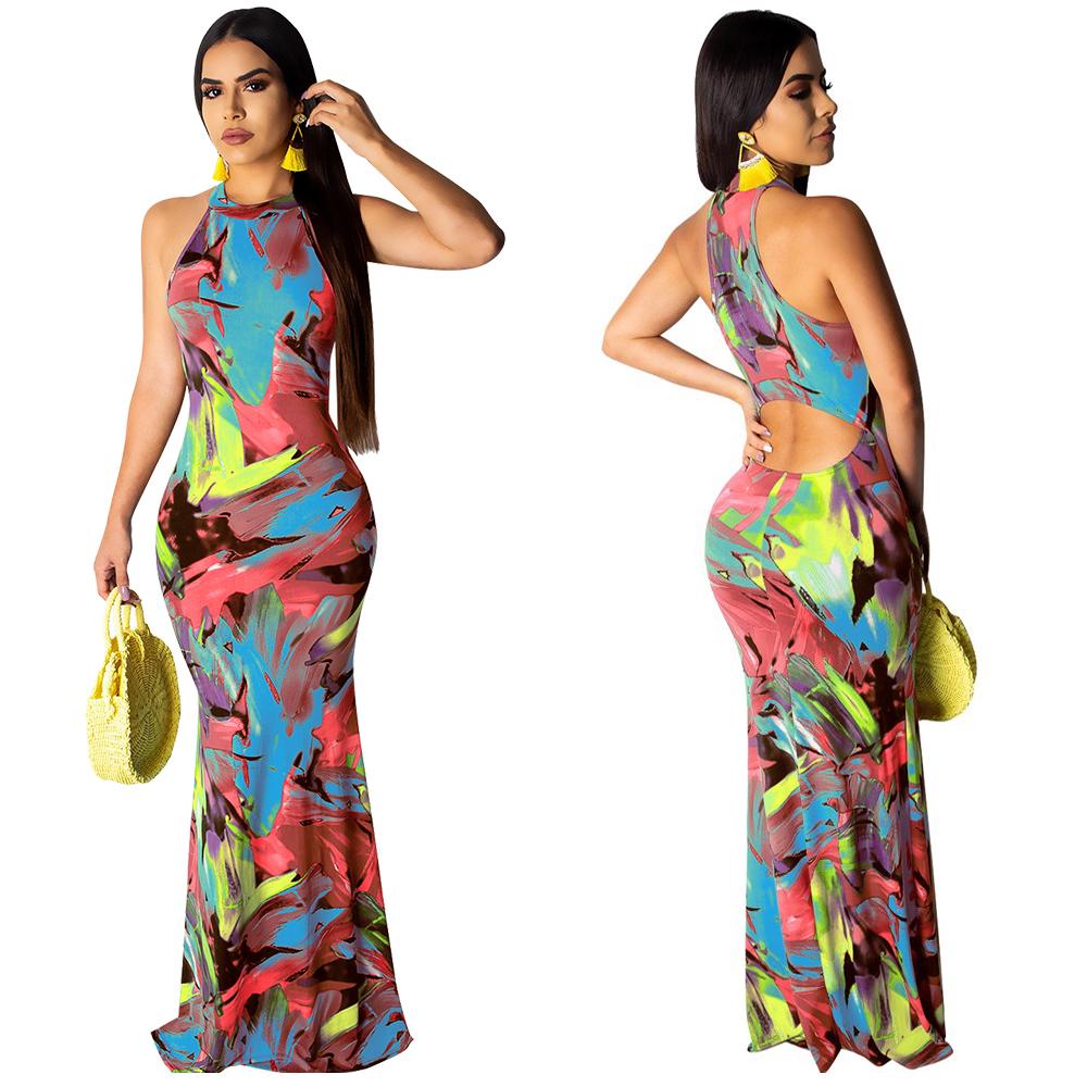 Элегантное женское платье в стиле бохо с цветочным принтом, Осеннее банкетное длинное платье с открытой спиной, открытые вечерние платья, н...(Китай)