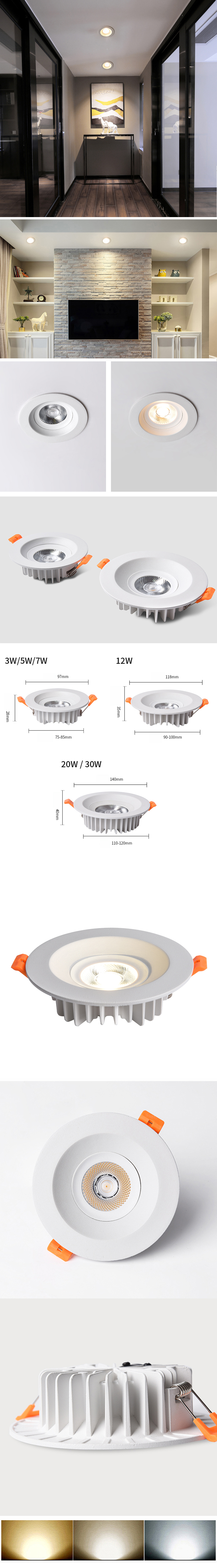 Round Adjustable Fire Rated Ceiling Dimmabl Black Recessed Ip65 Housing Led Cob Downlight