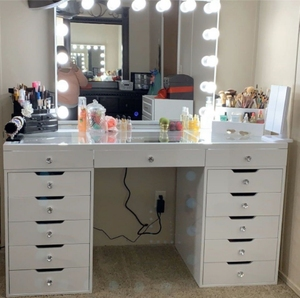 Docarelife Hollywood Style Makeup Mirror Vanity Modern Dressing Table with Lights Around Mirror