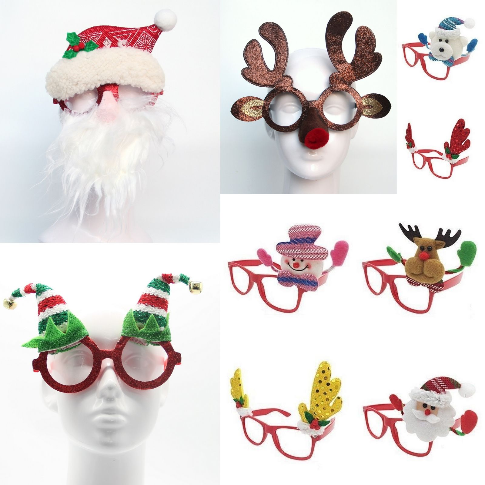 Happy New Year Christmas Glasses Xmas Party Accessories Photo Booth Props Costume Fancy Dress 1757