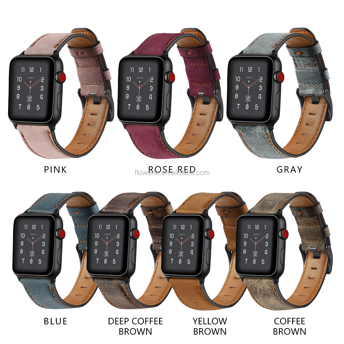 BLAP181147 Wholesale finely processed 100% genuine leather watch strap for apple watch